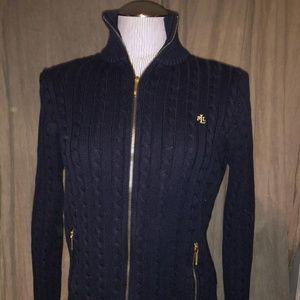 Ralph Lauren Navy Blue Cable knit zip cardigan M